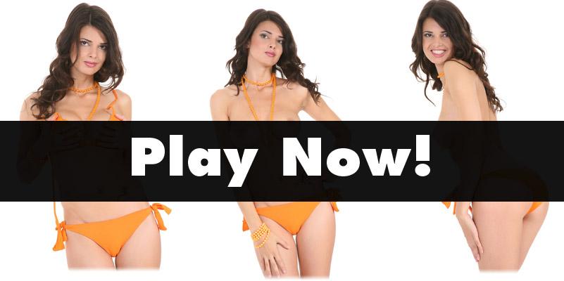 Jasmine Andreas in an orange bikini